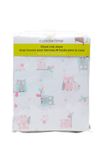 Cuddle Time Owl Fitted Crib Sheet Girl