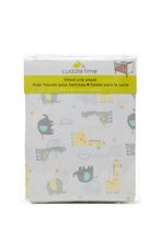 Cuddle Time Animal Fitted Crib Sheet Neutral