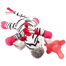 Dr Brown's Zebra Lovey with Pink One-Piece Pacifier