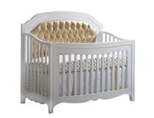 Natart Juvenile Allegra 5-in-1 Convertible Crib (w/out rails) White-Gold