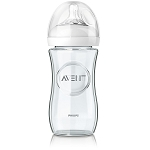 Avent Natural Glass Baby Bottle Slow Flow Nipple 1m+, 8oz