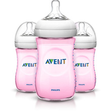 Philips AVENT Natural Baby Bottle, 9 oz Slow Flow Nipple 1m+, 3 Pack Pink