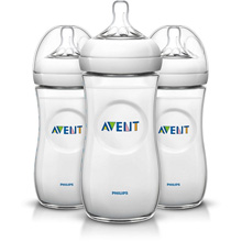 Philips-AVENT Natural Baby Bottle, 11oz Medium Flow Nipple 3m+