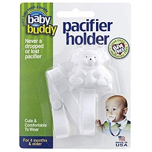 Baby Buddy Bear Pacifier Holder White