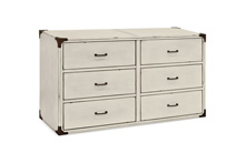 Franklin & Ben Providence Double Wide Dresser Distressed White with Distressing Marks