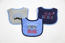 Luvable Friends 3-Pack Drooler Bib Hunk Navy Boy
