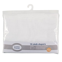 Luvable Friends 10-Pieces Flatfold Cloth Diaper White