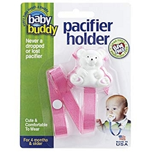 Baby Buddy Bear Pacifier Holder Fuchsia