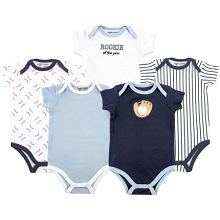 Luvable Friends  5 Pack Baseball Bodysuit