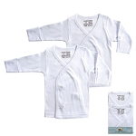 Luvable Friends Interlock LS Side-Snap Shirts 2-Pack White-Newborn