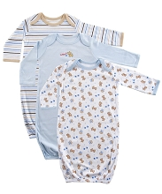 Luvable Friends 3-Pack Rib Knit Infant Gowns 0/6 Months-Blue