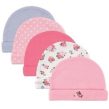 Luvable Friends 5-Pack Floral and Dots Infant Cap Girl