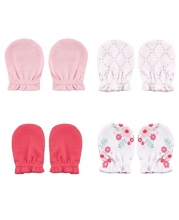 Luvable Friends 4-Pack Non Scratch Mittens Floral