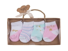 Baby Essentials 4 Pack Sock Set  Princess 12-18 Months
