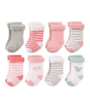 Hudson Baby 8-Pieces Bird and Rose Terry Roll Cuff Socks -Girl 12-24 Months
