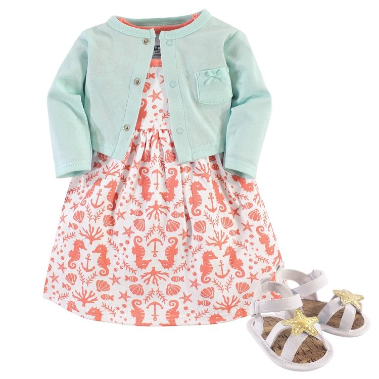 7a67f0de8d4b3 Hudson Baby 3-Pieces Cardigan Dress & Shoes -Sea 0-3 Months