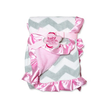 Baby Essentials Chevron PLush Blanket Grey-Pink