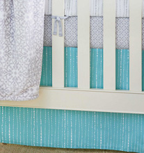Wendy Bellissimo™ Mix & Match Dotted Stripe Crib Skirt in Teal