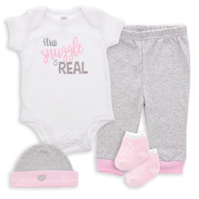 Baby Essentials Snuggle is Real  4 Piece Layette Set Pink