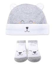 Baby Essentials 2 Pieces Bear Cap and Socks