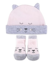 Baby Essentials 2 Pieces Cat Cap and Socks, Girl