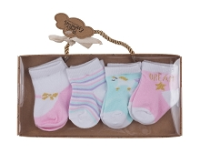 Baby Essentials Dream 4 Pack Box Socks Set Girl, Pink-Gold