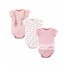 Little Treasure 3 Pack Ballerina Bodysuit 9-12 Months