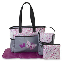 Tender Kisses Butterfly Diaper Bag 5-in-1 Purple