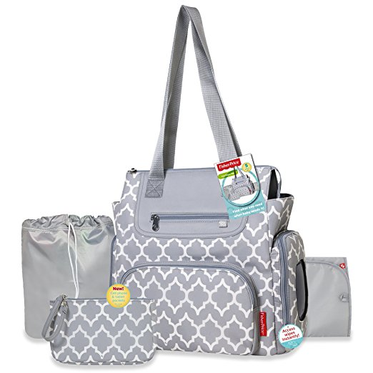 c3190bd04afd Fisher Price Lattice Diaper Bag 5-in-1 Grey