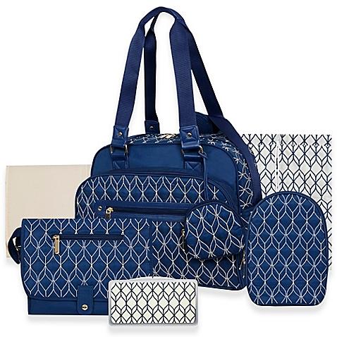 Baby Essentials Deluxe Navy Diaper Bag 7 Pieces