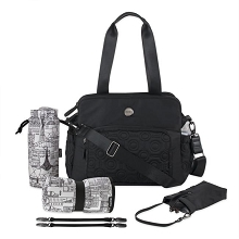 OiOi Quilt Triple Tote Diaper Satchel - Black