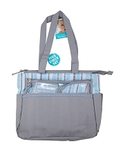 Baby Essentials 3-in-1 Striped Diaper Bag Grey-Blue
