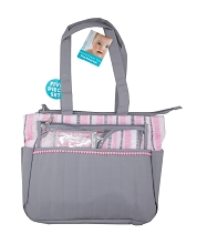 Baby Essentials Striped Diaper Bag 5 Pieces,Grey-Pink