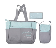 Baby Essentials Stars 5-in-1 Diaper Bag Grey-Mint