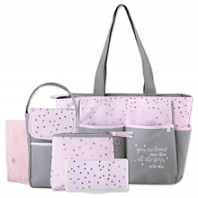 Baby Essentials Stars 5-in-1 Diaper Bag Grey-Pink