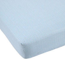 Balboa Baby Cotton Sateen Fitted Crib Sheet, Aqua with White Dot