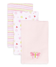 Frederic Lou Spasilk Burp Cloth 3-Pack, Pink Butterfly