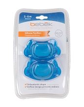 Bebek Baby Blue Silicone Pacifier 2-Pack 3-6 Months