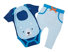 Bon Bebe 3 Pieces Bodysuit, Pant, Bib, Boy, Blue 6-9 Months