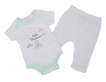 Rene Rofe 3 Pieces Bodysuit, Pant, Bib, White-Mint, 6-9 Months