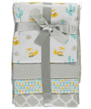 Regency Baby Fun Fox Flannel Blanket 4-Pack Neutral