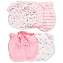 Cribmates Butterfly Scratches Mittens 4-Pack Pink
