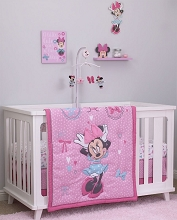 Crown Craft Nojo Disney Minnie All About Bows Crib Bedding Set 4-Pieces