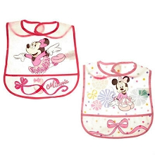 Disney Baby Minnie Mouse 2 Pack Crumb Catcher Bibs, Girl