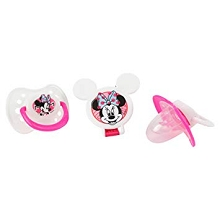 Disney Baby Minnie Mouse 3-Pieces Orthodontic Pacifier and Holder Set