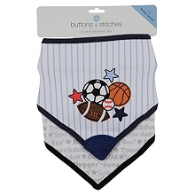 Buttons & Stitches Sports 2 Pack Bandana Bibs with Teether Corner