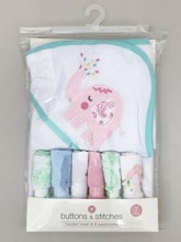 Buttons & Stitches Elephant Hooded Towel and 6 Washcloths, Girl