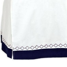 Just Born Dream Crib Skirt White-Navy