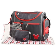 Cudlie Accessories Mickiey Mouse Diaper Bag Gift Set 4-Pieces Grey-Red