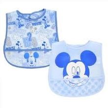 Disney Baby Mickey Mouse 2 Pack Crumb Catcher Bibs, Boy